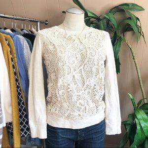 J.Crew cream floral lace sweatshirt size small